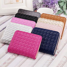 New Women Faux Leather Small Wallet Card Holder Zip Coin Purse Clutch Handbag