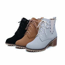 Womens High Heels Booties Ankle Boots Lace Up Fashion Low Shoes Thick Heel Pump