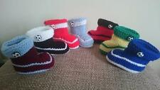 Hand Knitted Football Baby  Booties Boots Baby Shower Gift 0-3 3-6 6-9 months