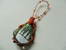 Snow trees  - Hand painted crafted beaded sea glass Christmas tree decoration