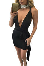 new sexy women Black Multi-wear Open Back Club Cocktail Party club Mini Dress
