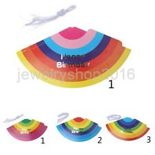 50x Unique Rainbow Birthday Party Caps Multicolor Cone Children Adults Hats