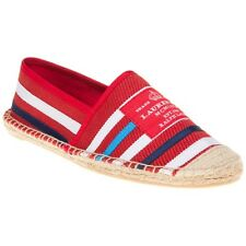 New Womens Lauren By Ralph Lauren Red Multi Debby Textile Shoes Espadrilles Slip