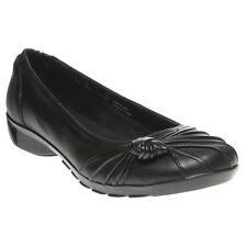 New Womens Hush Puppies Black Westbury Leather Shoes Flats Slip On