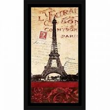 Eiffel Tower Paris Vintage Handwriting Traditional Travel Painting Red & Tan, Fr