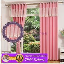 Custom Made Pink Kids Velvet Lace Sheer Drapes Curtains Eyelet Pleats Rod Viole