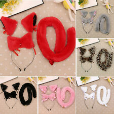 Headband Party Anime Cosplay Costume Bell Cat Ear Hairpin + Headband+Tail set