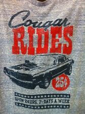 Ford Cougar Rides Mens Distressed TShirt Heather Blue Officially Licensed NWT