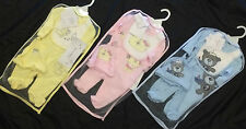 Baby Girls Boys Unisex 3 pc Sleepsuit Hat & Bib Outfit Set Blue Yellow or Pink