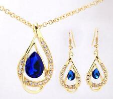 Women Jewelry Sets 18k Gold Plated Chain Austrian Crystal Necklace Earrings UK