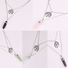 925 Silver Multilayer Chain Black Natural Stone Necklace Party Gemstone Jewelry