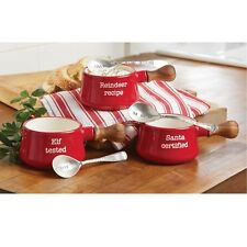 Mud Pie MH6 Circa Christmas Holiday Red Ceramic Dipping Pot & Spoon Set 4851066