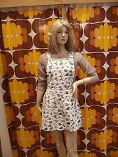 Women's Run & Fly 80's/90's style dungaree/pinafore dress with Dinosaur print