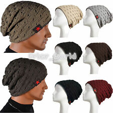 Mens Womens Winter Skull Knit Beanie Reversible Baggy Cap Warm Unisex Skiing Hat