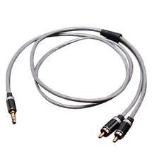 3.5mm Jack Plug to 2 RCA Stereo Jack Headphone Extension Cable Aux Audio Lead TS