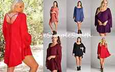 New Solid Color Long Bell Sleeve Open Tie Back High Low Trapeze Tunic Top Blouse