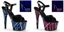 "PLEASER Adore-709NLB Black Neon Lightning Bolt Stripper Dancer Club 7"" Heels"