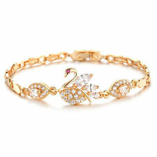 Bracelet Chain White Swan Chain Crystal Stone 18K Yellow Gold Filled Bangle Gift