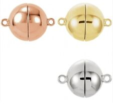 Sterling Silver Rose or Yellow Gold Plate Bright Round Magnetic Clasp Findings