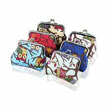 Womens Girls Purse Wallet Vintage Canvas Owl Key Coin Money Mini Bag Hasp Pouch
