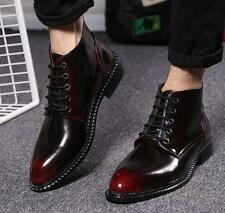Fashion Mens patent leather dress formal pointy toe lace up shoes ankle boots
