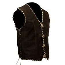 Mens Motorcycle Suede Vest Biker Leather Vest Black White  Braiding XS-8XL