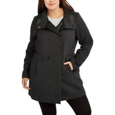 Fresh New York Women's Gray/Black Double-Breasted Faux Wool/Leather Peacoat M, L
