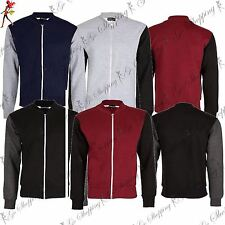 Mens Long Sleeve Bomber Sweatshirt Contrast Zipper Front Pockets Baseball Jacket