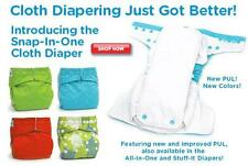 New Bumkins Snap in One Minki & Bamboo Cloth Diaper Fit One Size 9-35 Baby
