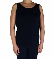 Women's Solid Navy Tank Top Plus Size Slinky Travel Knit Stretch Casual Wear