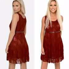 New Ladies Red Lace Skater Dress UK 10-14  Evening Party Womens Belted Dresses