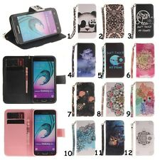 For Samsung Card Floral Holder Leather Flip Wallet Case TPU Cover Stand w/Strap
