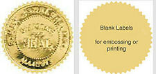 "80 Serrated Gold-Silver Foil Notary Corporate Seals Labels 2-1/8"" Emboss Print"