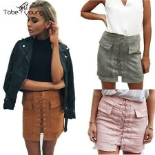 VTG Women High Waist Lace Up Bodycon Pencil Faux Leather Mini Short Skirt Casual