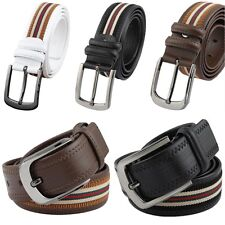 Men's Military Style Silver Metal Buckle Belt Canvas & Genuine Leather Waistbelt