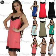 Womens Mini Skater Dress Ladies Nck Hem Lace Strappy Tunic Swing Vest Top