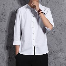 Men's Long Sleeve Shirts Cotton Linen Casual Button Frog Cardigan Solid Colors