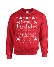 HAPPY BIRTHDAY JESUS Merry Christmas Christian XMas Crew Sweatshirt 692