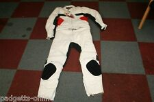 EUROSTYLE MENS WHITE BLACK RED TWO PIECE MOTORCYCLE SUIT SIZE UK 46