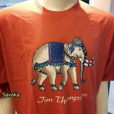 Elephant Thailand T-Shirt Jim Thompson Cotton Cream Orange Color Men Round Neck