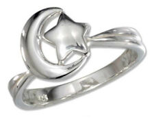 Crescent Moon and Star Ring - 925 Sterling Silver - Size 6-10 Sky Celestial Boho