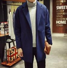 Mens Long Woolen trench Loose lapel collar Casual Fashion Coat Overcoat