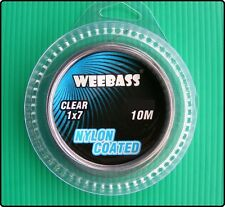 Weebass 10m of 7 Strand Fishing Nylon Coated Wire Trace With Crimps - Clear