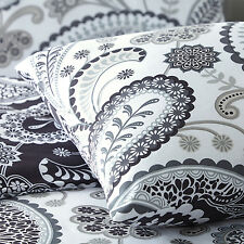 Paisley Black & Grey Modern Duvet Cover Pillowcase Set Single Double King Super