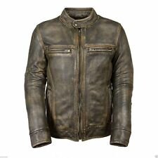 Distressed Wax Men's Biker Vintage Style Cafe Racer Motorcycle Leather Jacket