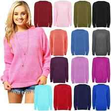 New Ladies Long Sleeve Chunky Knitted Over Sized Baggy Plain Jumper Top 8-16 K K
