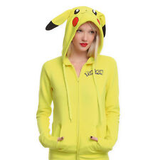 Pokemon Anime Jacket Cosplay Ears Face Tail Zip Coats Sweatshirt Pikachu Hoodies