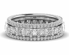 3.75ct Princess and Round Brilliant Cut Diamond Eternity Wedding Ring in 9K Gold