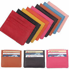 Hi Men's Womens Real Leather Small Id Credit Card Wallet Holder Slim Pocket Case