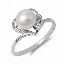 Solitaire Wedding Engagement Ring Sterling Silver Fresh Water Pearl Russian CZ